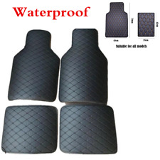 4Pcs PU Leather Waterproof Universal Car Floor Mat Front Rear Carpet Protect Pad