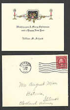 DATED 1923 CHICAGO IL WISH YOU A HAPPY XMAS & NEW YEAR EMBOSSED W/ENV