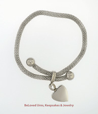 Snake Bracelet With Heart Cremation Jewelry Urn Keepsake Ashes - Funnel Included