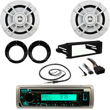 "Kenwood Bluetooth CD Radio, Harley Dash Kit, Antenna, 6.5"" Speakers, Adapters"