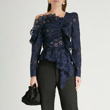 Womens Designer Inspired Crochet Ruffle Irregular Blouse One Shoulder Tops Shirt