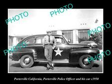 OLD POSTCARD SIZE PHOTO OF PORTERVILLE CALIFORNIA POLICE PATROL CAR c1950