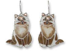 Marilyn Grame Silver Plated Birman Cat Enamel Dangle Earrings By Zarah