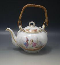Antique French Porcelain Chocolate Kettle Pot Wicker Handle Children c.1870