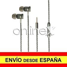 Auricular Manos Libres Cascos con Micrófono Cable Trenzado GRIS + Estuche a0482