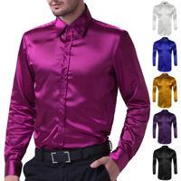 Silk Satin Mens Long Sleeve Luxury Italian Style Shirts Dress Shirt Casual Shirt