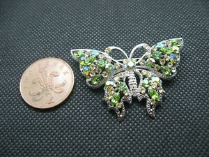 Lovely Multi-Coloured Rhinestone Silver Tone Butterfly Brooch.