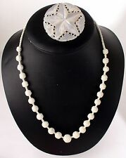 Middle Eastern Hand Cut Mother-Of-Pearl Shell Necklace and Broach Pin