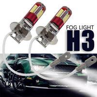 2x H3-3014-57smd Led Car Fog Light Lamp Bulb 6000k Bright White Dc12-24v 1500lm