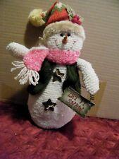 "Cloth SNOWMAN 16x6"" LET IT SNOW holiday Christmas figure snowmen shelf decor"