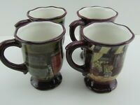 Set of 4 Certified International Kate McRostie French Boulevard Footed Mugs