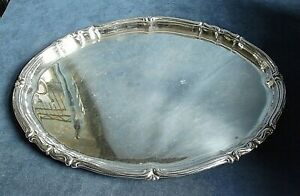 """GOOD Large 16"""" ~ SILVER Plate ~ Art Deco ~ COCKTAIL Platter TRAY ~ c1950"""