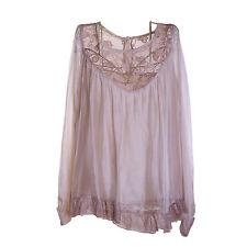 Ladies Lagenlook Italian Gorgeous Beige Silk Chiffon & Lace One SizeTunic/Blouse