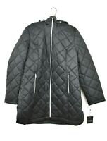 Laundry Shelli Segal Womens Black Quilted Puffer Full Zip Coat Winter Jacket XL