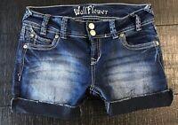 Wallflower Mid Rise Cut off Stretch Cuffed Denim Blue Jean shorts size 7