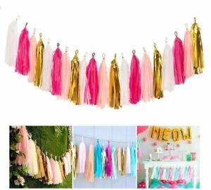 Tissue Paper Tassel Garland Bunting Wedding Baby Shower Party Hanging Decoration