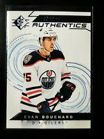 Evan Bouchard 2018-19 SP Rookie Authentics card 104 Blue Parallel