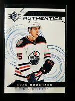 Evan Bouchard 2018-19 SP Rookie Authentics card 104 Blue Parallel