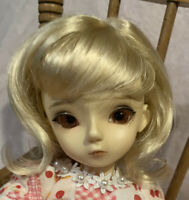 BJD Monique Wig Sabrina Blonde Golden 6-7 YOSD 1/6 Female Curly Bangs Doll Hair