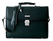 Brooks Brothers Luxury Briefcase Attache Padded Laptop Bag Black New
