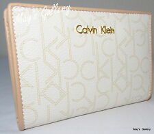Calvin Klein Wallet Wristlet Hand Tote Bag Handbag Purse faux Leather French CK
