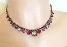 Vintage Karu Arke RED Aurora Borealis AB Rhinestone Silver Tone Necklace