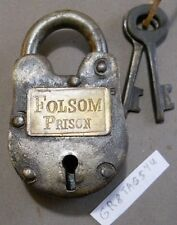 Folsom Prison Lock Brass plate Cast Iron Padlock