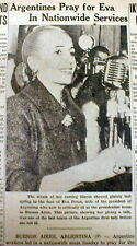 "1952 newspaper ""Evita"" EVA PERON DEATH from CANCER  Wife of JUAN PERON Argentina"