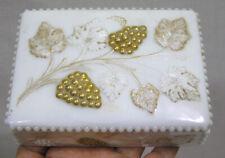 Vintage Milk Glass Dresser Trinket Box Embossed Gold Grapes Leaves