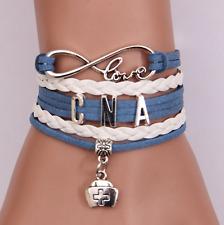 Infinity Love CNA Nurse Charm Bracelet Leather Braided Job Career Business Gift