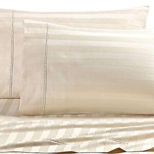 New WAMSUTTA Dream Zone 1000 TC  PimaCott Queen Sheet Set Ivory Stripes