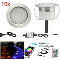 10pcs 31mm/45mm WIFI Control RGB/RGBW LED Deck Stair Inground Lights Path Lamp