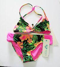 Roxy Girls In The Tropics ReversibleTriangle Bikini Set Knockout Pink Sz 14-NWT