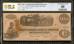 1862 $100 DOLLAR BILL CONFEDERATE STATES CURRENCY CIVIL WAR NOTE T-40 PCGS 40