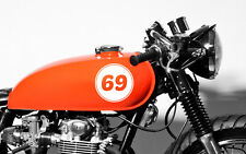 "(4x) 5"" Custom Made Motorcycle Tank Number Decal Stickers Cafe Racer Rat Bobber"