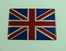 MINATURE UNION JACK FLAG Sticker/Decal - RED-CHROME-BLUE -HIGH GLOSS DOMED GEL