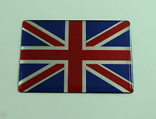 MINATURE UNION JACK FLAG Sticker/Decal - RED-CHROME-BLUE - HIGH GLOSS DOMED GEL