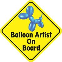 5in x 5in Balloon Artist On Board Magnet Car Truck Vehicle Magnetic Sign