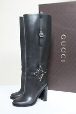 New sz 5 / 35 GUCCI Green Leather Tall Knee High Boot G Logo Ankle Heel Shoes
