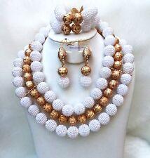 Celebrant White African Nigerian Wedding Beads Necklace Bridal Jewellery Sets