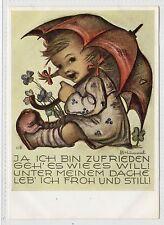 CHILD WITH UMBRELLA: B Hummel postcard (C5162).