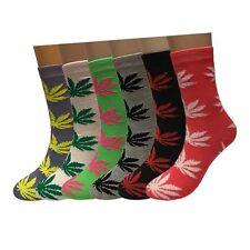 New Lot 12 Pairs Womens Fashion Marijuana Weed Leaf Crew Socks Cotton Size 9-11