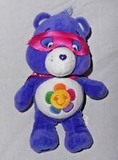Harmony Care Bear Super Hero Mask Cape Plush Stuffed Animal Purple Flower 2017