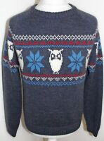 TOKYO LAUNDRY Mens Blue 15% Wool Patterned Thick Warm Jumper Size XL Brand New