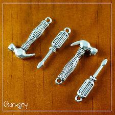 Hammer & Screwdriver charm set of 4~ Tibetan silver pendant tool handyman gift