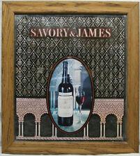 "18.5""X16.5"" Savory & James Wine Wood Framed Mirror Winery Bar Wall Decor"