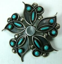 "Zuni Flower Pendant Brooch Pin Sterling Silver Petit Point Turquoise 2"" Signed"