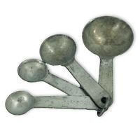 Vintage Mid Century Set of 4 Round Aluminum Measuring Spoons on Ring