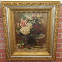 Jean Baptiste Robie Antique Painting Lithograph Cupids Goblet in Gesso Frame
