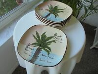 """Set of 5 Tabletops West Palm Beach Pattern Salad Plates 8"""""""